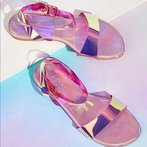 Holographic Ankle Strap Sandals